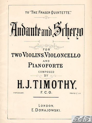 Timonthy Andante and Scherzo for 2 violins cello piano Donajowski 1422