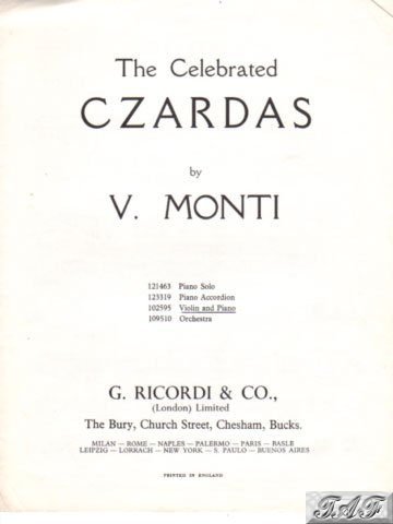 Monti Celebrated Czardas for violin Ricordi 102595