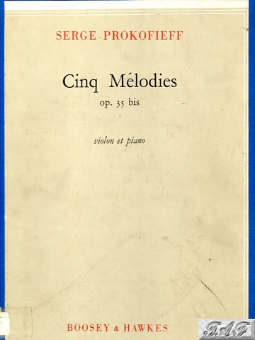 Prokofieff Cinq Melodies op 35 violin and piano B&H 17436