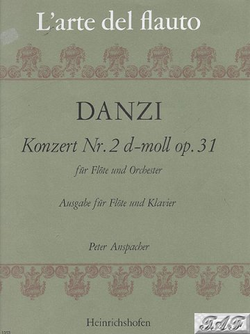Danzi flute Konzert Nr 2 d-moll op 31 L'arte del flauto Heinrichshofen 1353