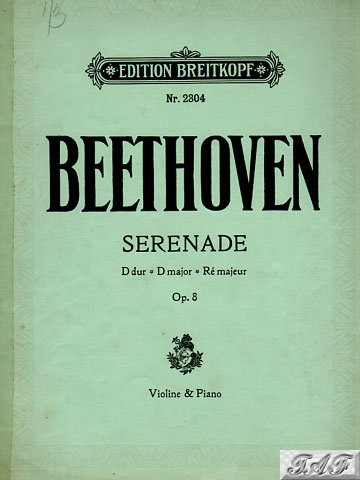 Beethoven Seranade in D Major Op 8 Violin and Piano arr. Brissler Breitkopf 2304