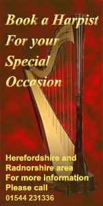 Book a Harpist for that special occasion - 01544 231336