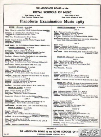 ABRSM Piano Pieces 1963 Grade 7