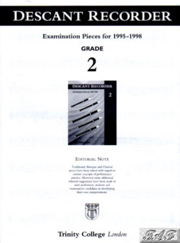 Descant Recorder G2 Exam Pieces 1995 to 1998